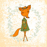 Cute Cartoon Fox in a dress with a rooster. Cute Fox girl in a dress with a rooster and a flower wreath on the head. Lovely fox in cartoon style on background Stock Photography
