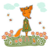 Cute Cartoon Fox in a dress with a rooster. Cute Fox girl in a dress with a rooster and a flower wreath on the head. Fox sticker in cartoon style on white Royalty Free Stock Images