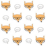 Cute cartoon fox face with eyeglasses seamless vector pattern background illustration vector illustration