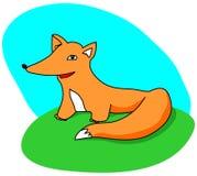 Cute cartoon fox on green grass Stock Photos