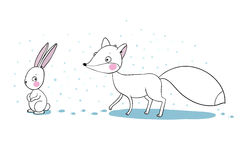 Cute cartoon fox and hare. Stock Photography