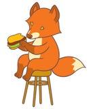 Cute cartoon fox holding big tasty sandwich Royalty Free Stock Photos