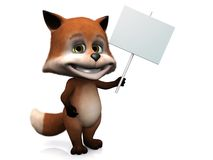 Cute cartoon fox holding blank sign. Stock Photography