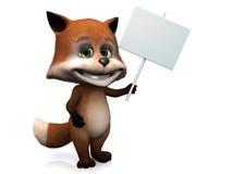 Cute cartoon fox holding blank sign. Stock Photography