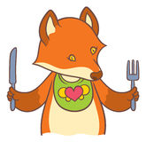 Cute cartoon fox holding a knife and fork Stock Image