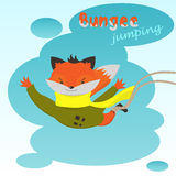 Cute cartoon Fox jumps elastic on the background of clouds Stock Images