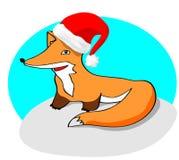 Cute cartoon  fox with red Santa's hat. Cute cartoon  fox with red Santa's hat on snowy ground Stock Image