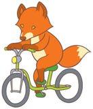 Cute cartoon fox riding a bicycle Stock Photography