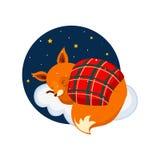 Cute Cartoon Fox Sleeping on a Cloud, Covered with Royalty Free Stock Photos