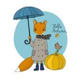Cute cartoon fox under an umbrella and a small bird on a pumpkin. Royalty Free Stock Images