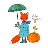 Cute cartoon fox under an umbrella and a small bird on a pumpkin. Stock Image
