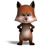 The cute cartoon fox is very smart and clever. 3D. Rendering with clipping path and shadow over white Stock Photos