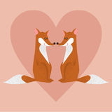 Cute cartoon foxes couple in love Royalty Free Stock Photography