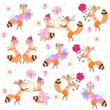 Cute cartoon foxes dancing isolated on white background in vector. Beautiful collection.  stock illustration