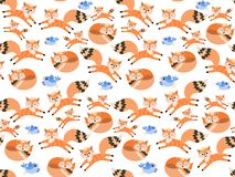 Cute cartoon foxes and little blue birds isolated on white background in vector. Seamless pattern. Print for fabric, wallpaper. Design elements stock illustration