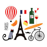 Cute cartoon french culture symbols: wine, Eiffel tower, baguette, retro bicycle, mustache, cheese. Funny Paris illustration. Set of french symbols on white royalty free illustration