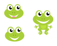 Cute cartoon frog icons isolated on white Royalty Free Stock Photography