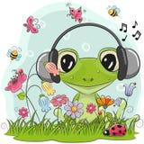 Cute Cartoon Frog on a meadow vector illustration