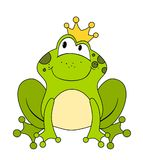 Cute cartoon frog princess or prince isolated on white. Background Stock Images