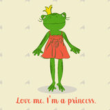 Cute cartoon frog princess in red dress, For childer book, shop of toy or t-shirt print. Stock Photos