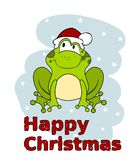 Cute cartoon frog in Santa hat isolated on white background vector illustration
