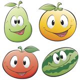 Cute Cartoon Fruit. Cartoon fruits. Isolated objects for design element Stock Photography