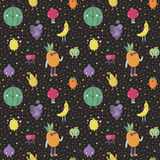 Cute cartoon fruit seamless vector pattern with confetti. Cute cartoon fruit seamless vector pattern. Funny characters in nice colors with confetti Royalty Free Stock Images