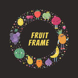 Cute cartoon fruits circle frame illustration. Cute cartoon fruit circle frame. Funny characters in nice colors with confetti Royalty Free Stock Photo