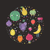 Cute cartoon fruits circle illustration. Funny characters in nice colors with confetti Royalty Free Stock Photography