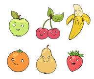 Cute cartoon fruits with happy faces Stock Photos