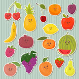 Cute cartoon fruits, healthy food Royalty Free Stock Images