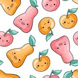 Cute cartoon fruits seamless pattern on white background. Healthy food seamless pattern in doodle style. Kawaii pear royalty free illustration
