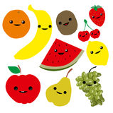 Cute cartoon fruits Stock Image