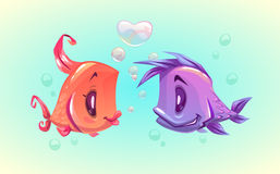 Cute cartoon funny fish characters couple. In love. Vector illustration Royalty Free Stock Photography