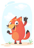 Cute cartoon funny fox mascot amusing and excited. Vector illustration Royalty Free Stock Image