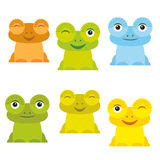 Cute Cartoon funny frog set yellow green blue orange on white background. Vector Royalty Free Stock Images