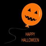 Cute cartoon funny orange balloon pumpkin with scary smile, eyes and teeth. Thread bow. Halloween card for kids. Flat design. Blac Royalty Free Stock Photos