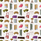 Cute Cartoon Furniture Seamless Pattern Stock Image