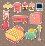Cute cartoon furniture stickers Stock Photos