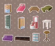 Cute cartoon furniture stickers. Cartoon vector illustration Royalty Free Stock Images