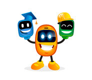 Cute cartoon gadget mascot character. Cute smiling gadget character. Vector illustration for mobile applications Stock Photos