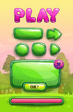Cute cartoon game assets set. Green glossy buttons, panel and progress bar for GUI design on park landscape background Royalty Free Stock Image