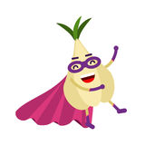 Cute cartoon garlic superhero in mask and cape, colorful humanized vegetable character  Illustration. Isolated on a white background Royalty Free Stock Photography