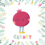 Cute cartoon garnet illustration with flowers and lettering. Funny character in nice colors Royalty Free Stock Images