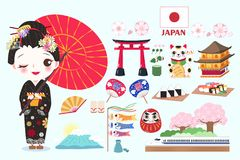 Cute cartoon geisha. On the green background Royalty Free Stock Images