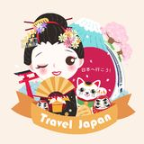 Cute cartoon geisha. With travel japan in the japanese word on green background Royalty Free Stock Photography