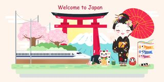 Cute cartoon geisha. On the white background Royalty Free Stock Photo