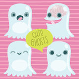 Cute Cartoon Ghost Set. Funny Halloween Character Stock Photo