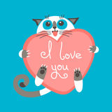 Cute cartoon ginger cat with heart and declaration Stock Photography