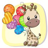 Cute Cartoon Giraffe with balloon stock illustration
